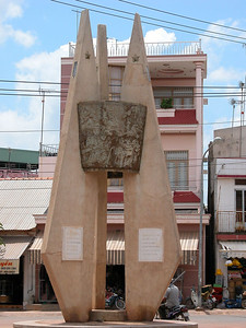 Ben Cat monument to guerillas killed in Ben Cat District - in the central square. Ben Cat is now a prosperous town.