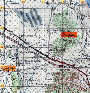 """Map #3 -  Nui Dau (where FSB Debbie, formerly LZ Thunder, was located) and environs. Note Dam Lam Binh to the NW, and Nga Man hamlets to SW. See larger Map #2  of the general area that we called the """"Rice Bowl"""" - """"Pho Cuong"""" officially, though I'm unsure of the limits of the area that designates."""