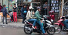 Family on a motorbike in Hanoi, Vietnam in January 2012