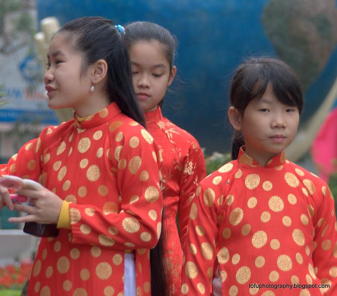 Girls in traditional dress in Hanoi, Vietnam in January 2012