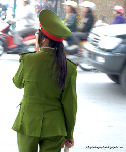 Police woman in Hanoi, Vietnam in January 2012