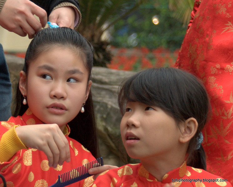 Girls in traditional dress in Hanoi, Vietnam in January 2012