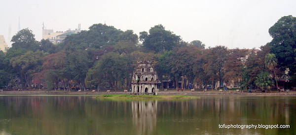 Turtle Tower (Tháp Rùa) in the Hoan Kiem lake in Hanoi, Vietnam in January 2012