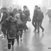 People walking in foggy Sapa, Vietnam in January 2012