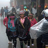 Women walking in foggy Sapa, Vietnam in January 2012