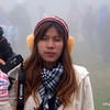 Thai woman with her camra in Sapa, Vietnam in January 2012