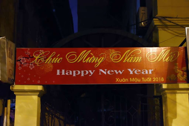 Happy New Year, Hanoi, 6 March 2018.  The lunar new year (Tet) is Vietnam's most important public holiday.  In 2018 it fell on 16 February.