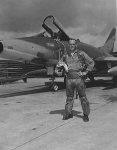 90th Fighter Squadron pilot and his F-100 in Vietnam.