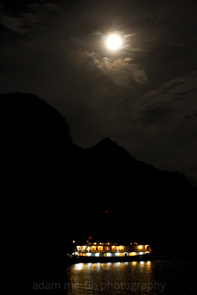 Halong Bay under a full moon. Vietnam