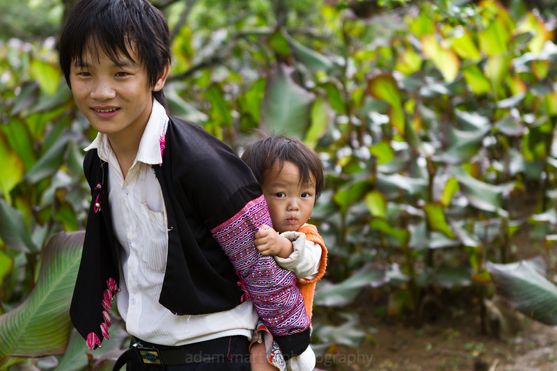 Young guy with a younger guy. Hang Kia Village Vietnam