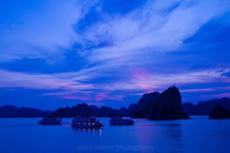 Swirling blue sunset. Halong Bay Vietnam