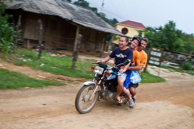 3 men and a baby. Erm fellas where IS the baby? Hang Kia Village Vietnam