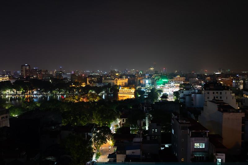 Hanoi at night, looking over Hoan Kiem