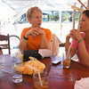 Tracy and I enjoying iced coffee and Jackfruit that we bought at a roadside market on our way to the resort.