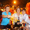 Toasting with Vietnamese beer at the bbq stop.  Jackie, Tracy and one of the tour girls.  This place is hugely popular with the locals and it was packed.