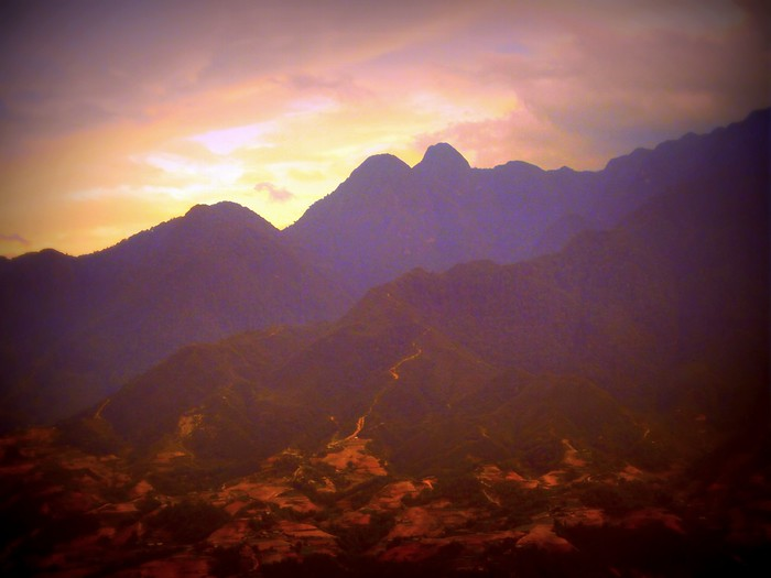 Edited shot of the mountains in Sapa, Vietnam.