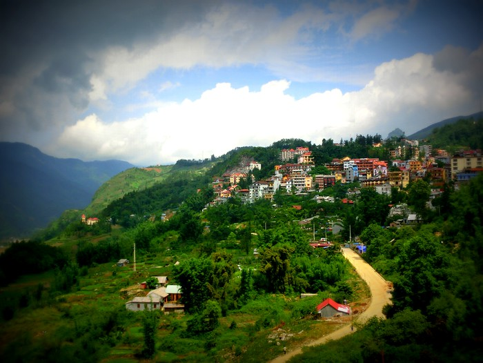 The town of Sapa in the distance.