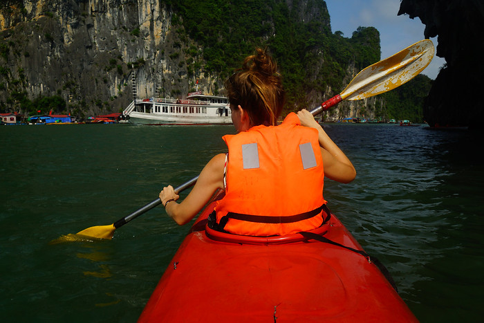 Kayaking in Halong Bay, Vietnam.