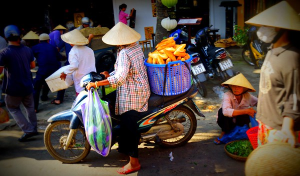 The busy Central Market in Hoi An, Vietnam.