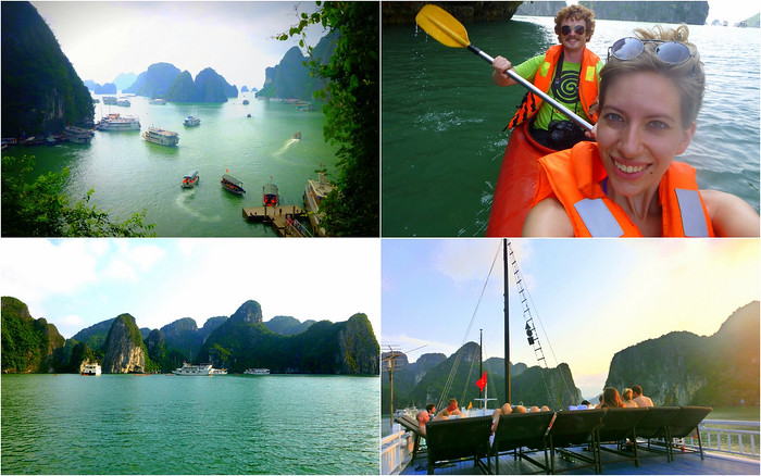 Cruising and kayaking around Halong Bay, Vietnam