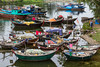 An assortment of fishing boats at a small fishing village near Da Nang, Vietnam, Asia.