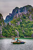 Fishing among the limestone karsts and small islands in Ha Long Bay, Vietnam, Asia.