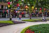 A flower garden park near Lake Hoan Kiem in Hanoi, Vietnam, Asia.