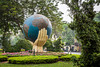 The Hands and the World monument in Hoan Kiem Lake park in Hanoi, Vietnam, Asia.