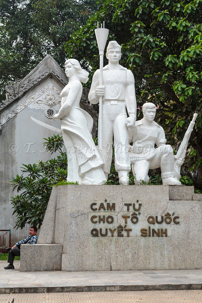 The Martyrs' Monument near Hoan Kiem Lake in Hanoi, Vietnam, Asia.
