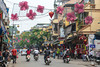 A street and building architecture in the Old Quarter of Hanoi, Vietnam, Asia.