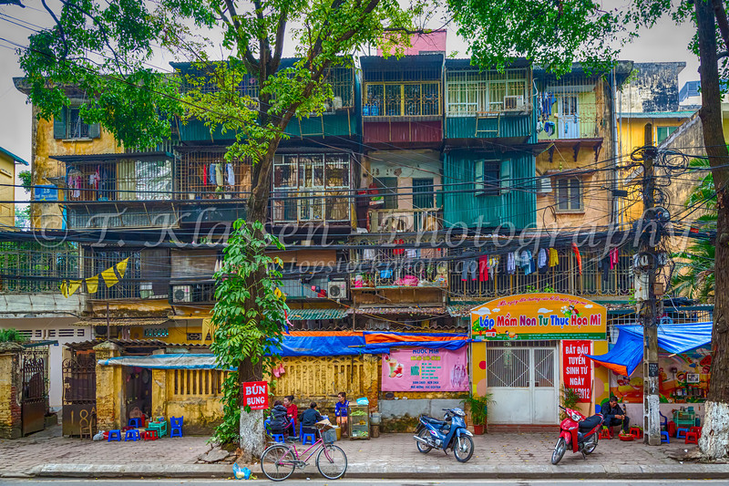 A city housing complex in Old Hanoi, Vietnam, Asia.