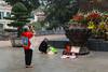 Praying at the  Ly Thai To statue in Hanoi, Vietnam, Asia.