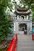 The Ngoc Son Temple entrance on Hoan Kiem Lake, Hanoi, Vietnam, Asia.