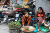 Street vendors selling fresh produce in Hanoi, Vietnam, Asia.