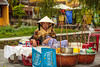 A sidewalk cafe in Hoi An, Vietnam, Asia.