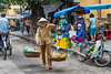 An outdoor fruit and vegetable market in Hoi An, Vietnam, Asia.