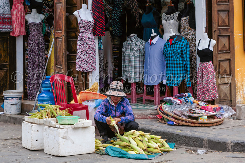 A street market and clothing store in Hoi An, Vietnam, Asia.