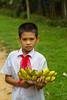 A young boy selling bananas at the Minh Mang Tomb near Hue, Vietnam, Asia.