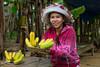 Selling bananas at the Minh Mang Tomb near Hue, Vietnam, Asia.
