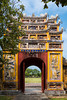 An ornate gate in the historic Old Imperial City in Hue, Vietnam, Asia.
