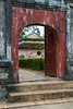 A rustic old gate at the Thien Mu Pagoda near Hue, Vietnam, Asia.