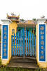 A garden gate in Kim Bong Village near Hoi An, Vietnam, Asia.