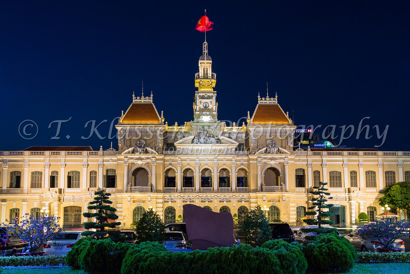 The City Hall building illuminated at night in Saigon, Ho Chi Minh City, Vietnam, Asia.