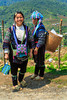 Two Black Hmong ladies in Cat Cat village near Sapa, Vietnam, Asia.