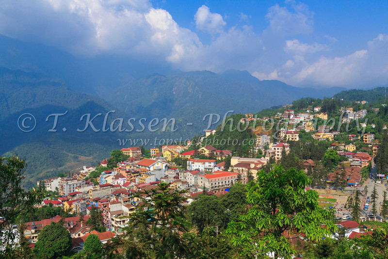 The Sapa townsite from Ham Rong Mountain, Vietnam, Asia.