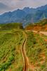 An irrigation trough on the hillside at Lao Chai Village near Sapa, Vietnam, Asia.