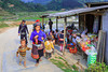 Villagers gather at a small market at Ta Phin Village near Sapa, Vietnam, Asia.