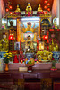 Interior altar and buddhist icons in the Den Hang Pho Temple in Sapa, Vietnam, Asia.