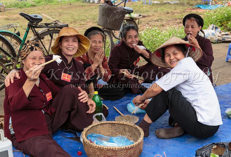 Ladies of the village near the Tay Phuong Pagoda near Hanoi, Vietnam, Asia.