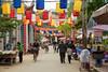 A village street at the Thay Pagoda (Masters Pagoda) located at the foot of Sai Son mountain near Hanoi, Vietnam, Asia.
